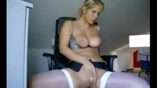 Pulchritudinous office busty blonde in white stockings with sexy butt dance unaffected by webcam