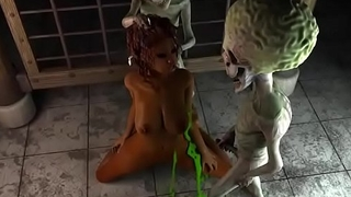 tight pussy prisner smashed by tow aliens