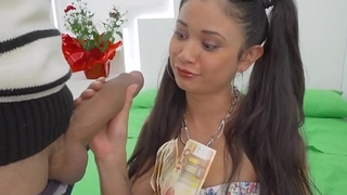 Tiny Spanish Latina Teen With Pigtails Fucked For Cash