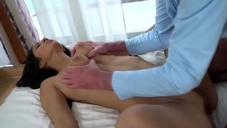 Busty 18yo Darcia Lee sucks off and ride an elderly geezers cock