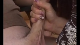 Cheating housewife jerking dick till cumshot