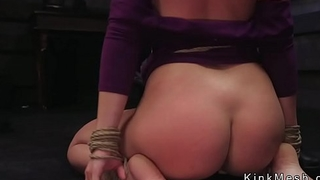 Brunette slave spanked and fucked