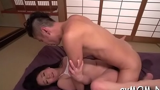 Oriental nun goes wild with hairy cum-hole